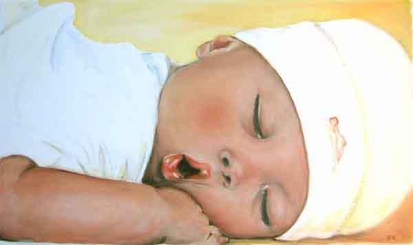 """""""schlafendes Baby"""" Acrylmalerei auf Leinwand Dieses Bild von einem ..."""